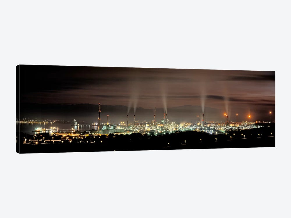 Gibraltar-San Roque Refinery At Night, San Roque, Cadiz, Andalusia, Spain by Panoramic Images 1-piece Canvas Art Print