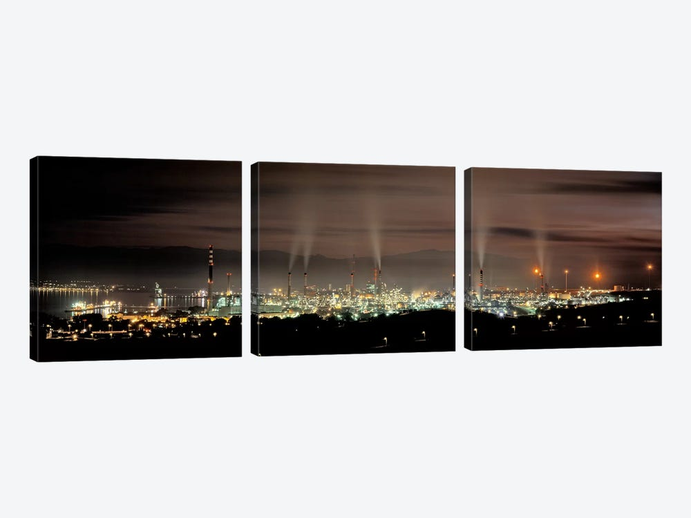 Gibraltar-San Roque Refinery At Night, San Roque, Cadiz, Andalusia, Spain 3-piece Art Print