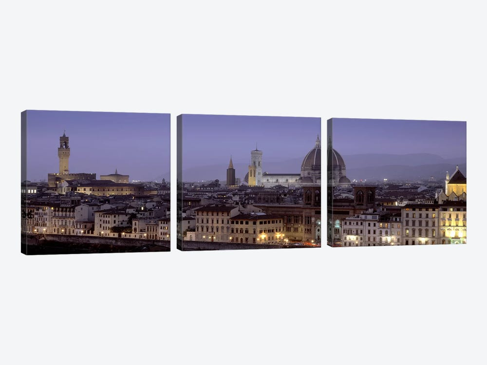 Historic Centre At Dusk, Florence, Tuscany, Italy by Panoramic Images 3-piece Canvas Artwork