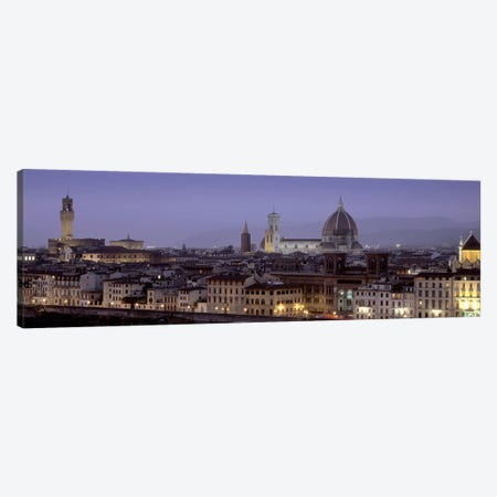 Historic Centre At Dusk, Florence, Tuscany, Italy 3-Piece Canvas #PIM5024} by Panoramic Images Canvas Print