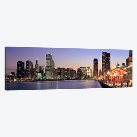 View of The Navy Pier & SkylineChicago, Illinois, USA Canvas Print #PIM502} by Panoramic Images Art Print