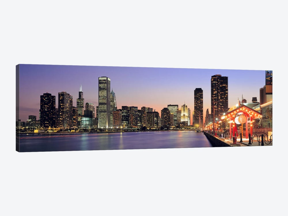 View of The Navy Pier & SkylineChicago, Illinois, USA by Panoramic Images 1-piece Canvas Art