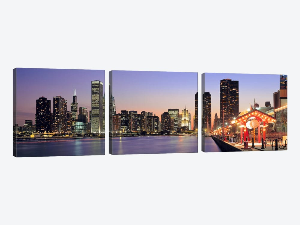 View of The Navy Pier & SkylineChicago, Illinois, USA by Panoramic Images 3-piece Canvas Art