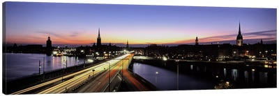 Blurred Motion View Of Nighttime Traffic On Centralbron, Stockholm, Sweden Canvas Art Print