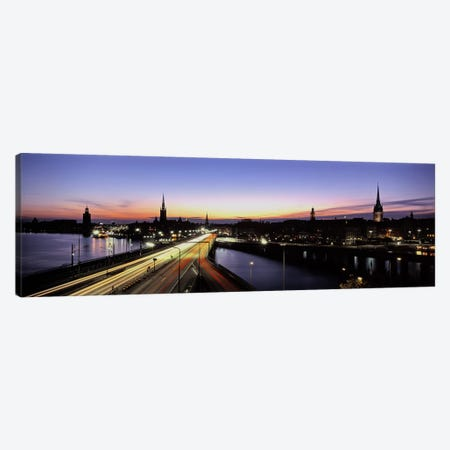 Blurred Motion View Of Nighttime Traffic On Centralbron, Stockholm, Sweden 3-Piece Canvas #PIM5031} by Panoramic Images Canvas Print