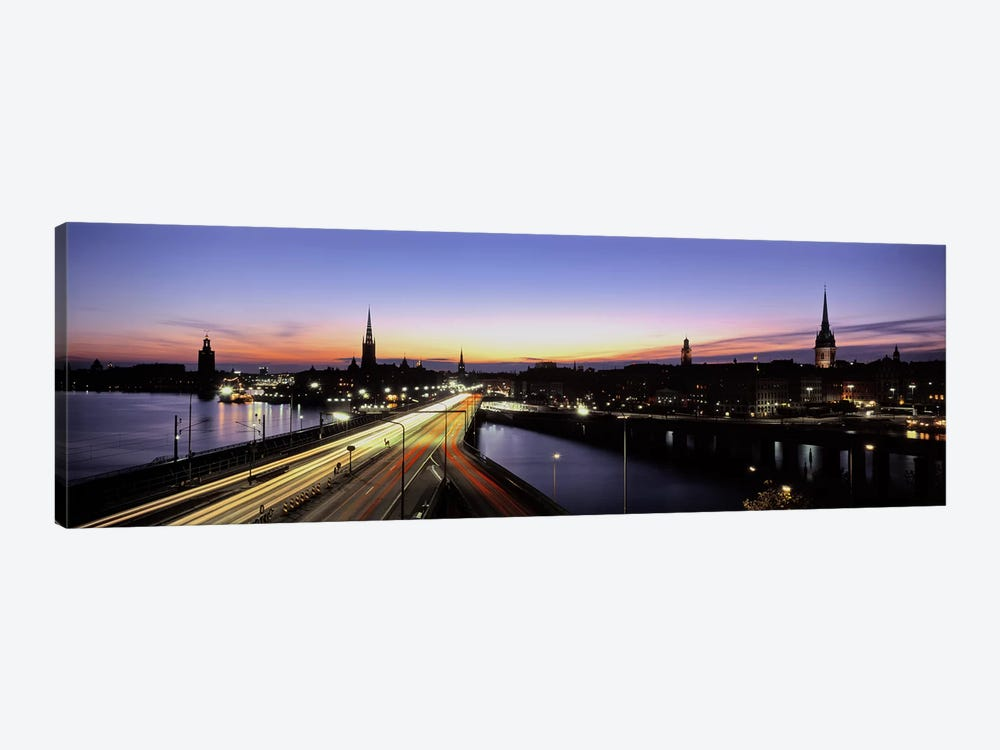 Blurred Motion View Of Nighttime Traffic On Centralbron, Stockholm, Sweden by Panoramic Images 1-piece Canvas Artwork