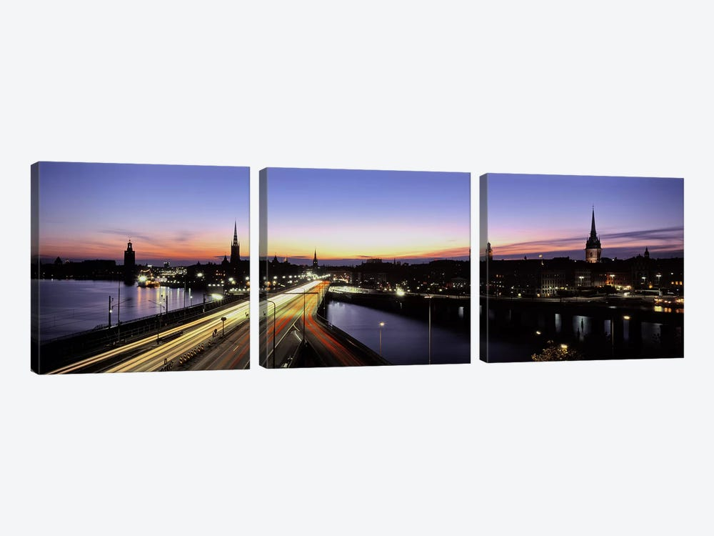Blurred Motion View Of Nighttime Traffic On Centralbron, Stockholm, Sweden by Panoramic Images 3-piece Canvas Art