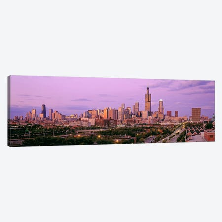 View of A Cityscape At TwilightChicago, Illinois, USA Canvas Print #PIM503} by Panoramic Images Canvas Print