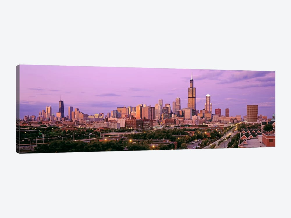 View of A Cityscape At TwilightChicago, Illinois, USA by Panoramic Images 1-piece Canvas Print