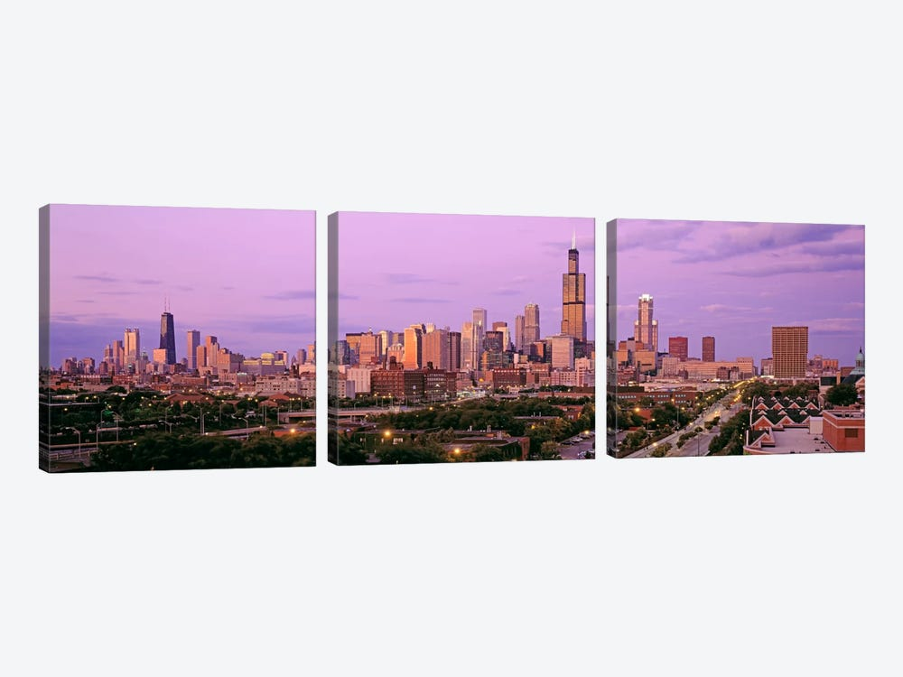 View of A Cityscape At TwilightChicago, Illinois, USA by Panoramic Images 3-piece Art Print