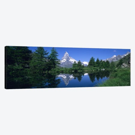 A Snow-Covered Matterhorn And Its Reflection In Grindjisee, Pennine Alps, Switzerland Canvas Print #PIM5042} by Panoramic Images Canvas Wall Art