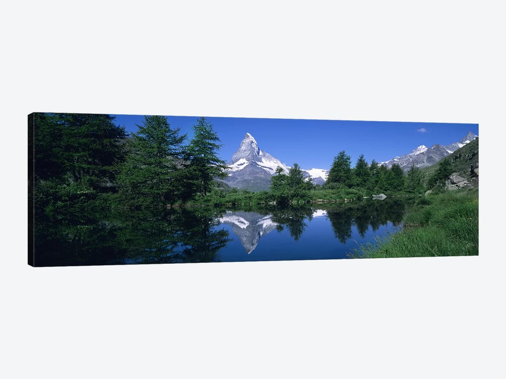 A Snow-Covered Matterhorn And Its Reflection In Grindjisee, Pennine Alps, Switzerland by Panoramic Images 1-piece Canvas Wall Art