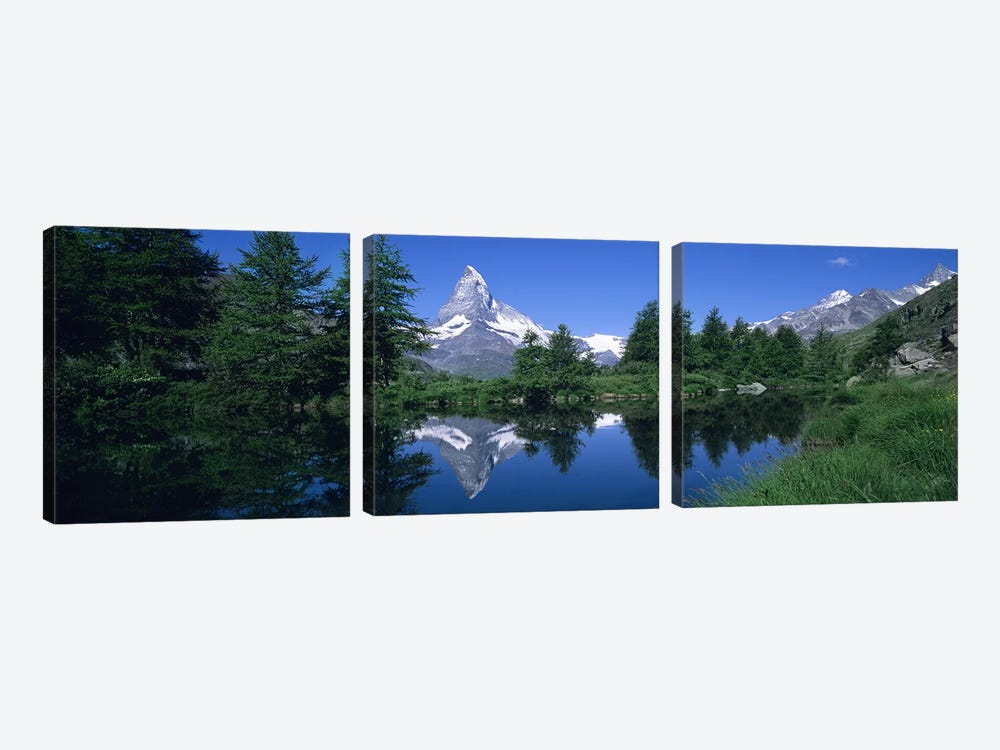 A Snow-Covered Matterhorn And Its Reflection In Grindjisee, Pennine Alps, Switzerland by Panoramic Images 3-piece Canvas Artwork