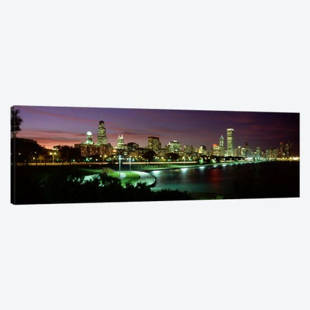 Night skyline Chicago IL USA #2 Canvas Print #PIM504} by Panoramic Images Canvas Art