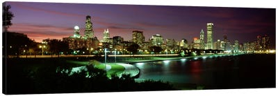 Night skyline Chicago IL USA #2 Canvas Art Print