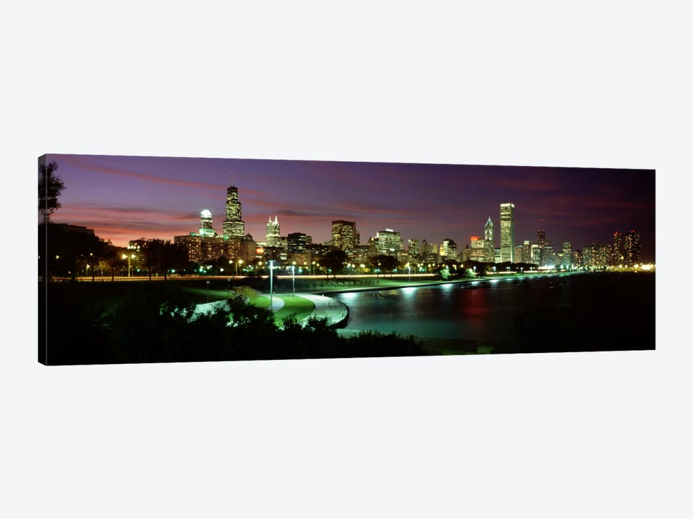 Night skyline Chicago IL USA #2 by Panoramic Images 1-piece Canvas Wall Art