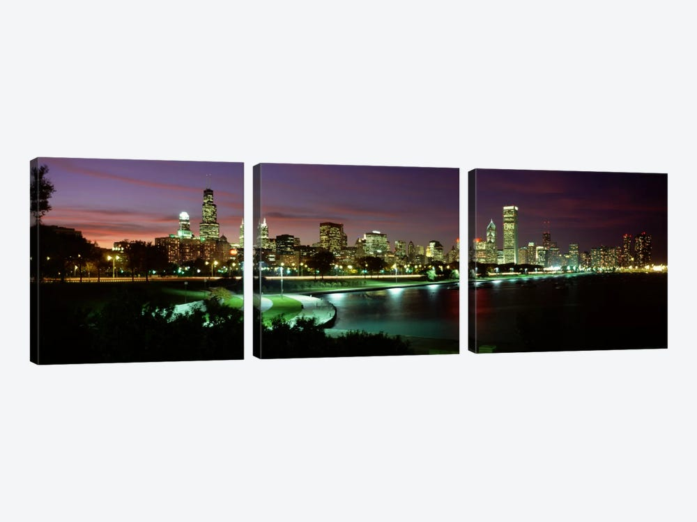 Night skyline Chicago IL USA #2 by Panoramic Images 3-piece Canvas Artwork