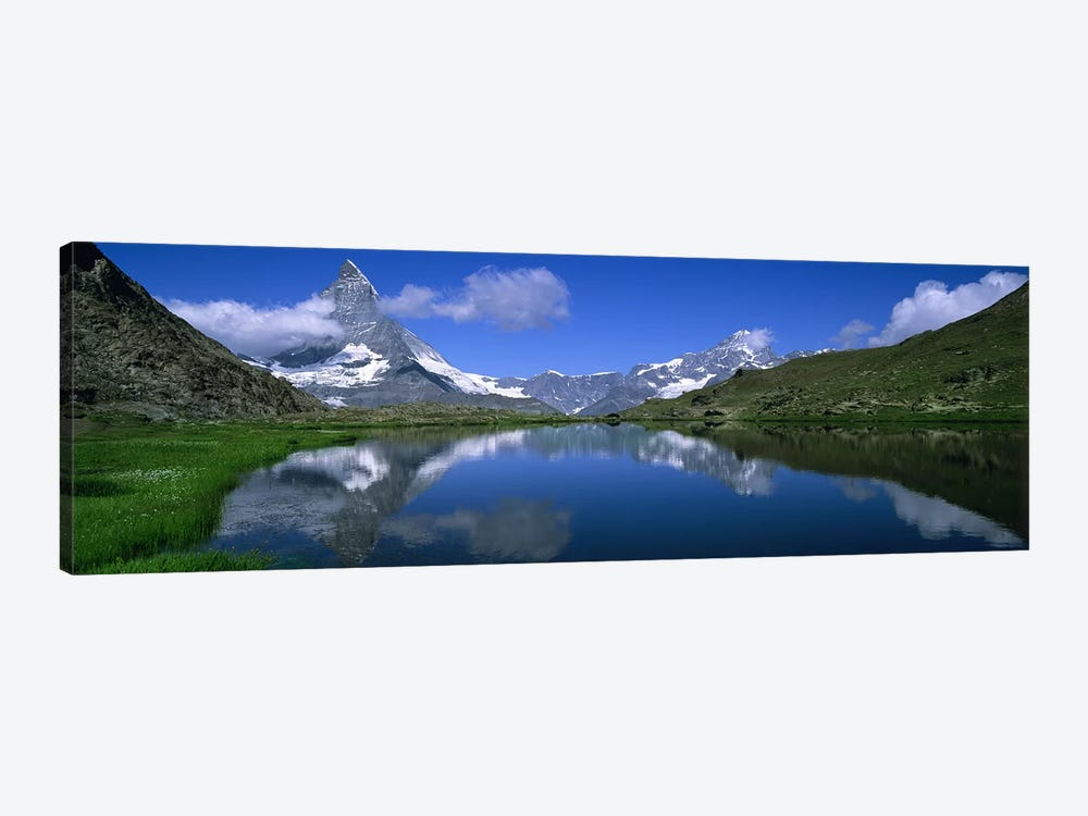 A Snow-Covered Matterhorn And Its Reflection In Riffelsee, Pennine Alps, Switzerland by Panoramic Images 1-piece Art Print