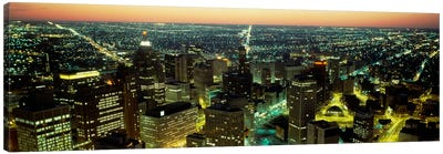 High angle view of buildings lit up at nightDetroit, Michigan, USA Canvas Print #PIM505