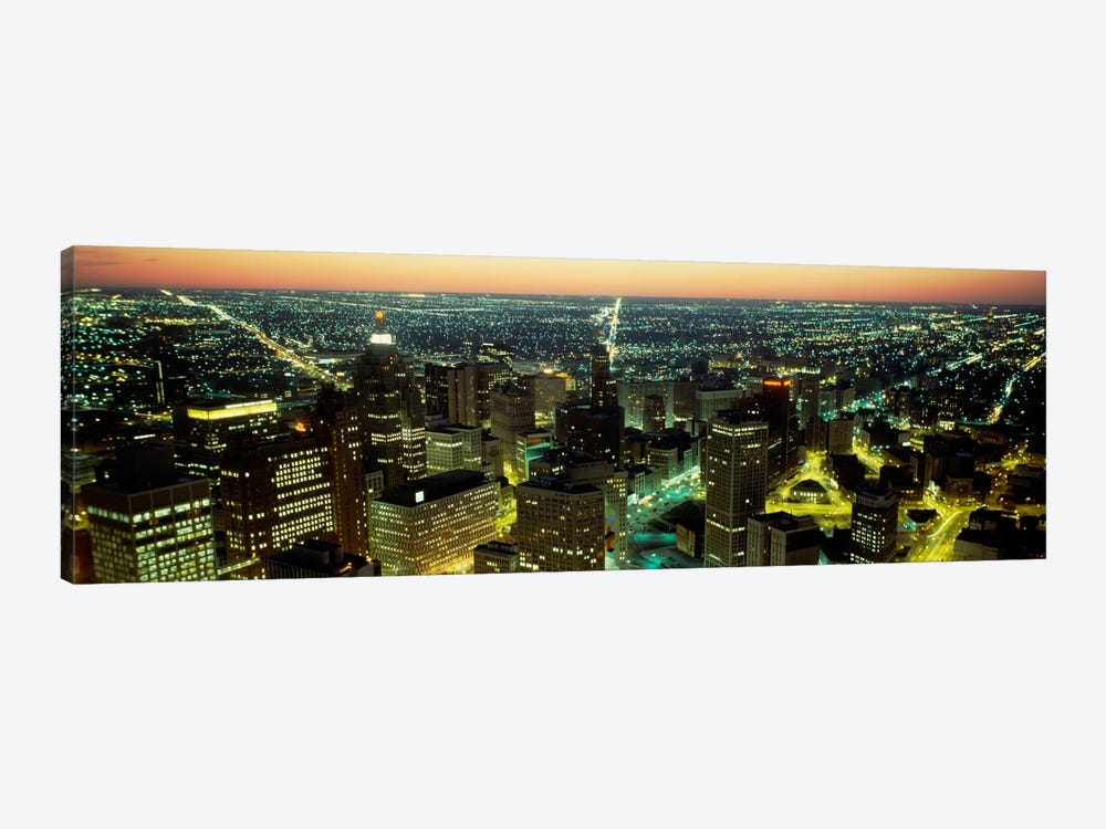High angle view of buildings lit up at nightDetroit, Michigan, USA by Panoramic Images 1-piece Art Print