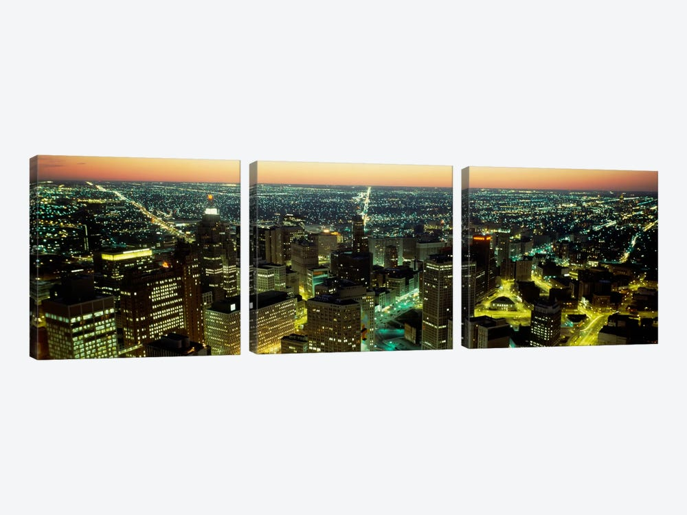 High angle view of buildings lit up at nightDetroit, Michigan, USA by Panoramic Images 3-piece Canvas Print
