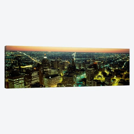 High angle view of buildings lit up at nightDetroit, Michigan, USA Canvas Print #PIM505} by Panoramic Images Canvas Wall Art