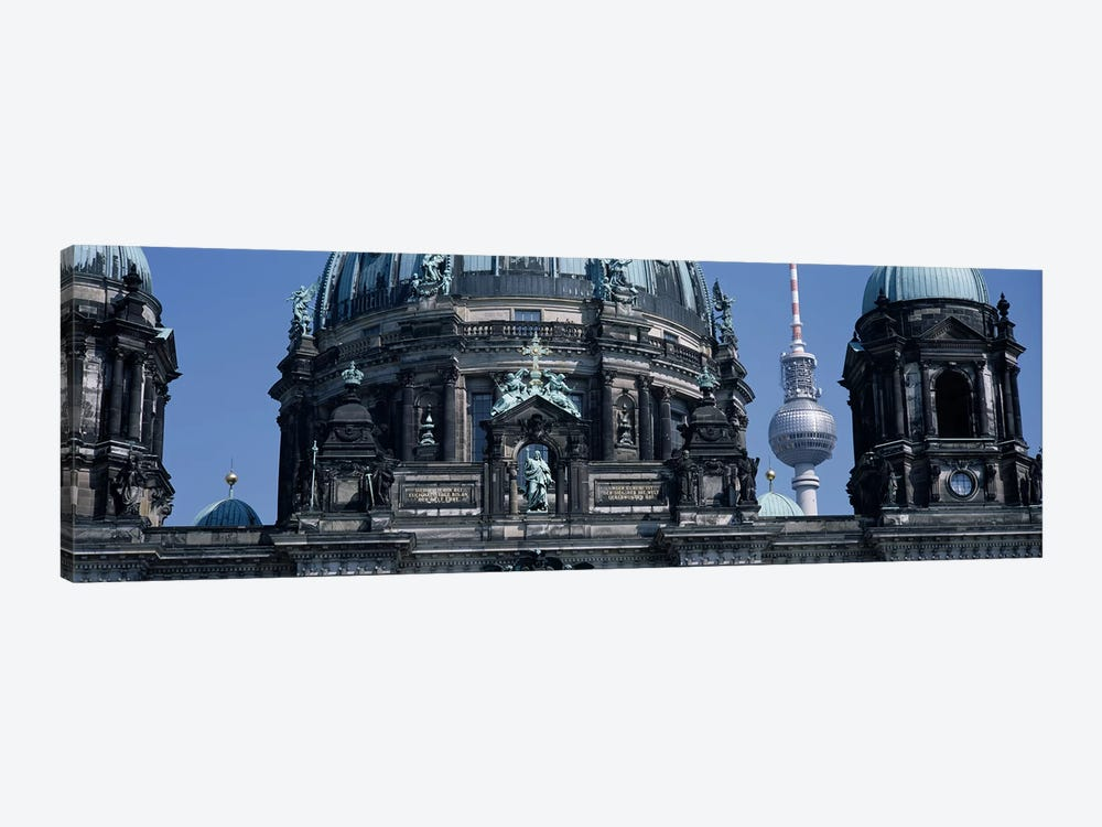 Low angle view of a church, Berliner Dom, with Television Tower (Fernsehturm) in distance, Berlin, Germany by Panoramic Images 1-piece Canvas Art