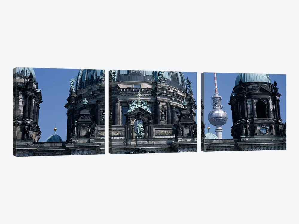 Low angle view of a church, Berliner Dom, with Television Tower (Fernsehturm) in distance, Berlin, Germany by Panoramic Images 3-piece Canvas Artwork