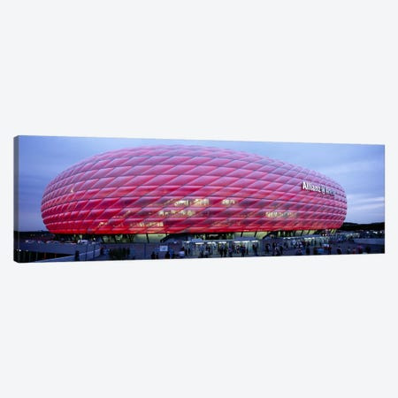 Soccer Stadium Lit Up At Dusk, Allianz Arena, Munich, Germany Canvas Print #PIM5069} by Panoramic Images Canvas Artwork