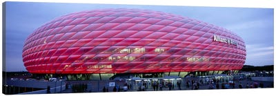 Soccer Stadium Lit Up At Dusk, Allianz Arena, Munich, Germany Canvas Art Print