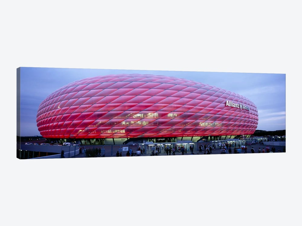 Soccer Stadium Lit Up At Dusk, Allianz Arena, Munich, Germany by Panoramic Images 1-piece Art Print