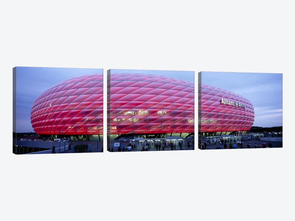 Soccer Stadium Lit Up At Dusk, Allianz Arena, Munich, Germany by Panoramic Images 3-piece Art Print