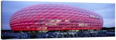 Soccer Stadium Lit Up At Dusk, Allianz Arena, Munich, Germany Canvas Art Print