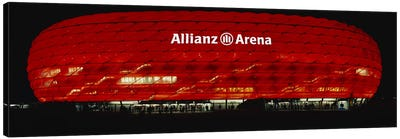 Soccer Stadium Lit Up At Night, Allianz Arena, Munich, Germany Canvas Art Print