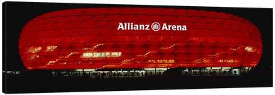 Soccer Stadium Lit Up At Night, Allianz Arena, Munich, Germany Canvas Art Print