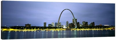 An Illuminated Downtown Skyline Behind The Gateway Arch, St. Louis, Missouri, USA Canvas Art Print