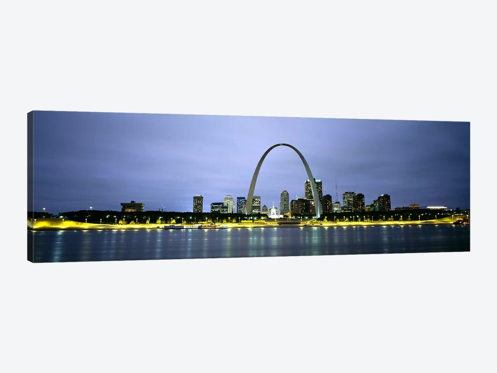 An Illuminated Downtown Skyline Behind The Gateway Arch, St. Louis, Missouri, USA by Panoramic Images 1-piece Canvas Art