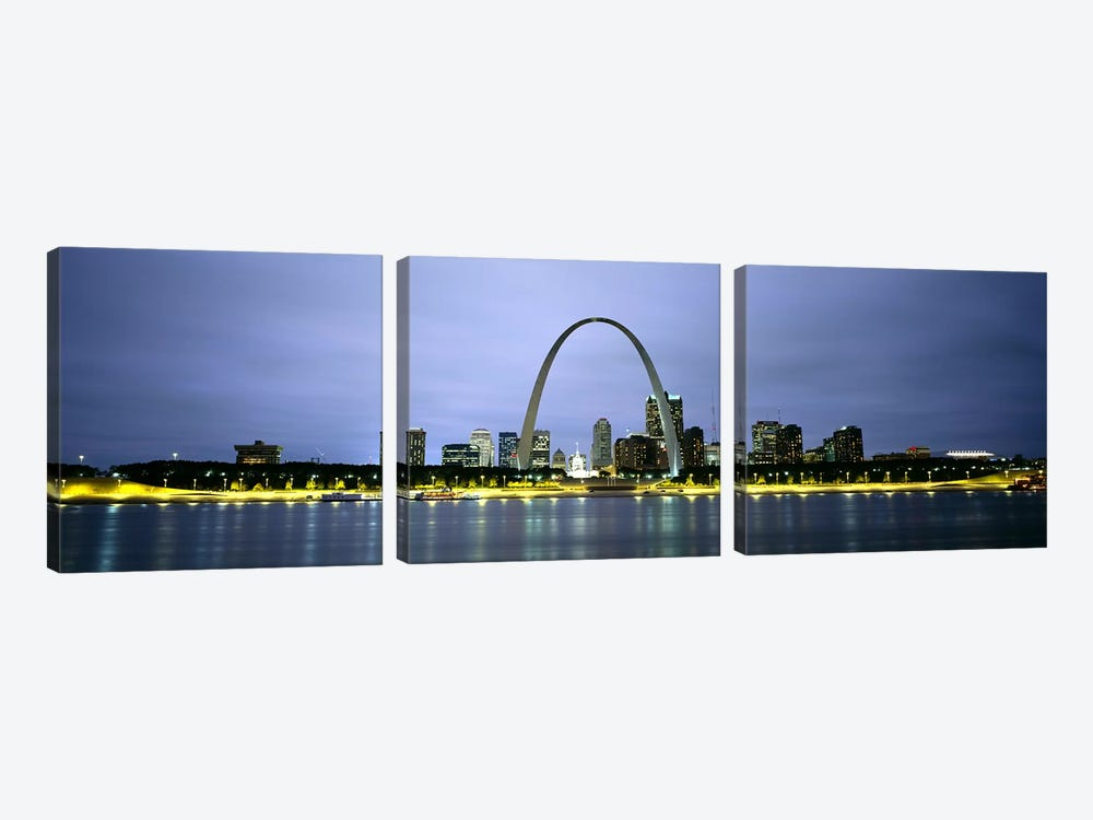 An Illuminated Downtown Skyline Behind The Gateway Arch, St. Louis, Missouri, USA by Panoramic Images 3-piece Canvas Wall Art