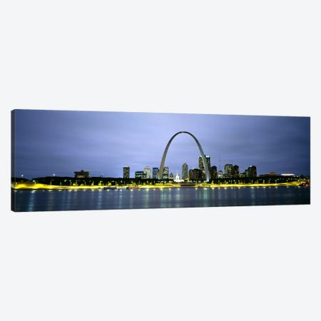 An Illuminated Downtown Skyline Behind The Gateway Arch, St. Louis, Missouri, USA Canvas Print #PIM5075} by Panoramic Images Canvas Wall Art