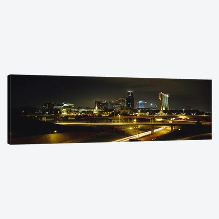 Buildings Lit Up At NightKansas City, Missouri, USA Canvas Print #PIM5076} by Panoramic Images Canvas Artwork