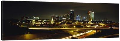 Buildings Lit Up At NightKansas City, Missouri, USA Canvas Print #PIM5076