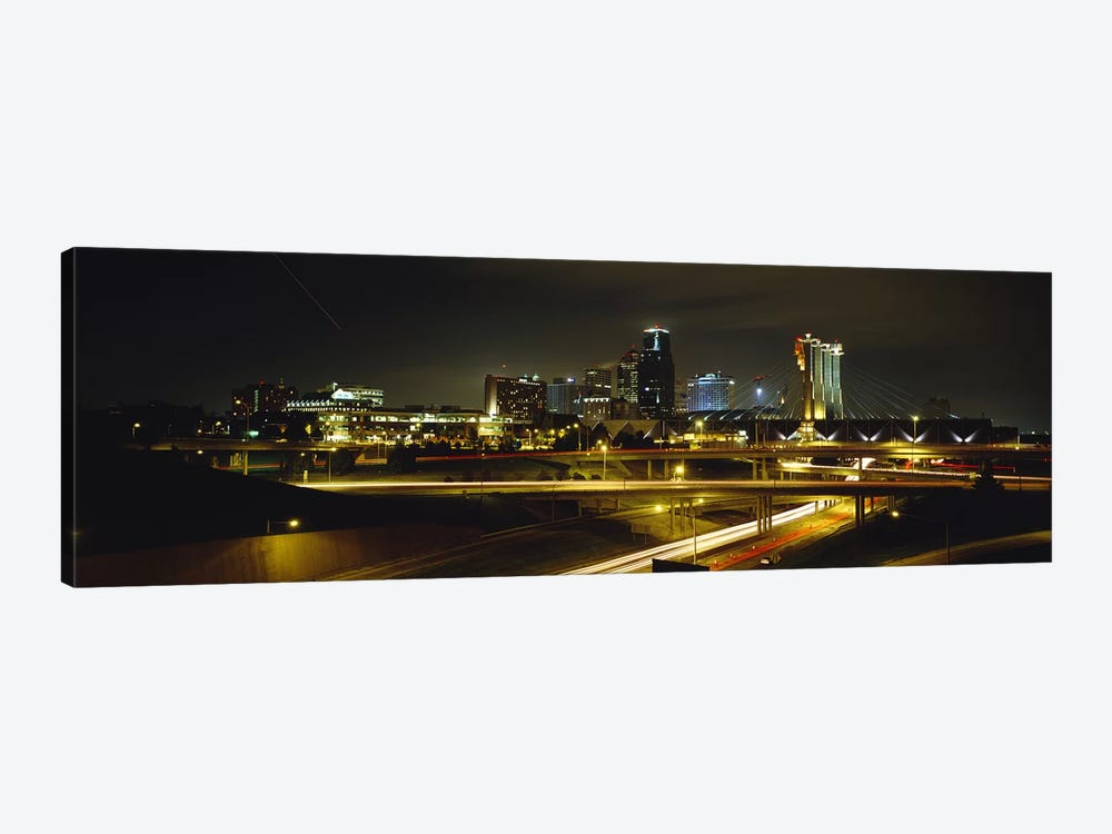 Buildings Lit Up At NightKansas City, Missouri, USA 1-piece Canvas Art Print