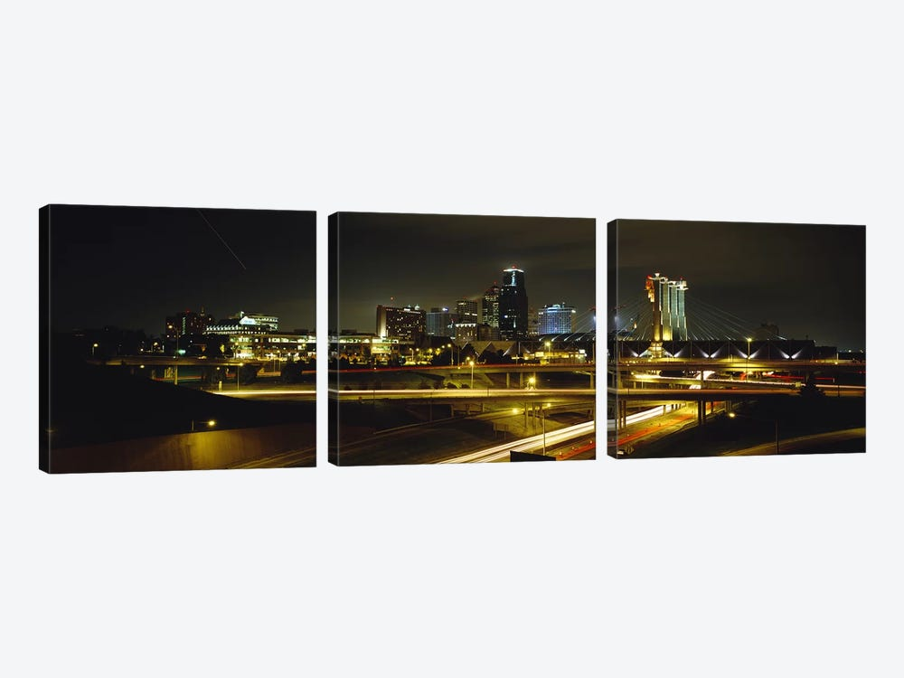Buildings Lit Up At NightKansas City, Missouri, USA 3-piece Canvas Print