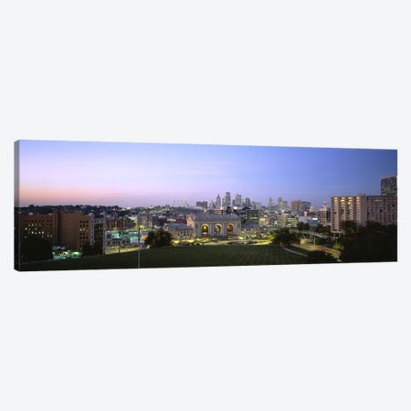 High Angle View of A City Lit Up At DuskKansas City, Missouri, USA Canvas Print #PIM5081} by Panoramic Images Canvas Art