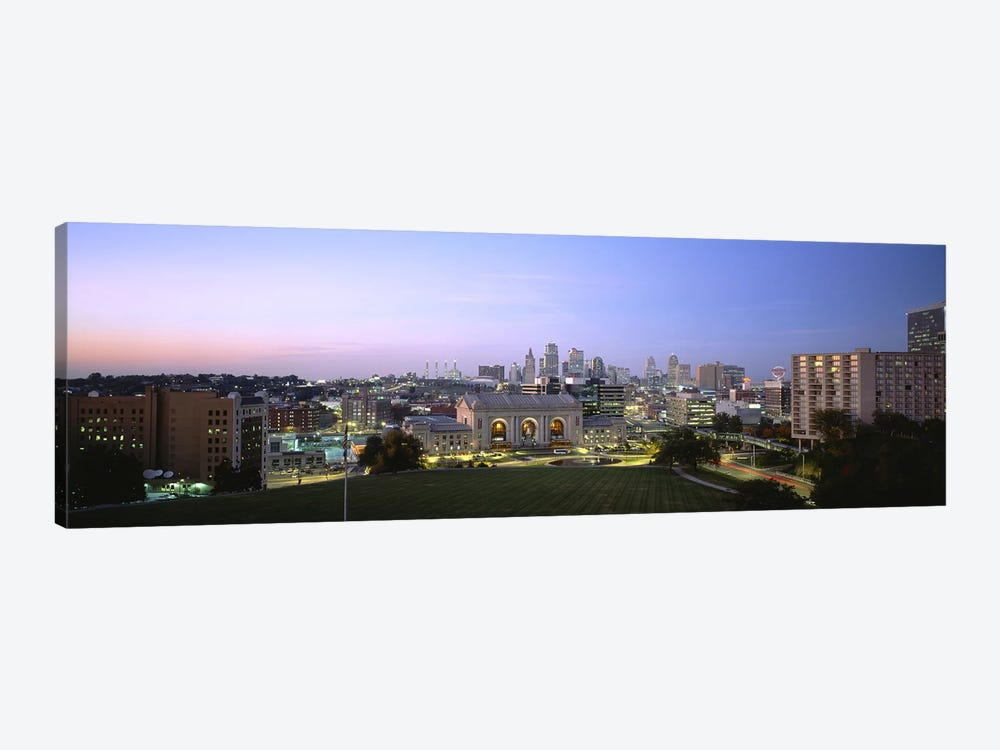 High Angle View of A City Lit Up At DuskKansas City, Missouri, USA by Panoramic Images 1-piece Art Print