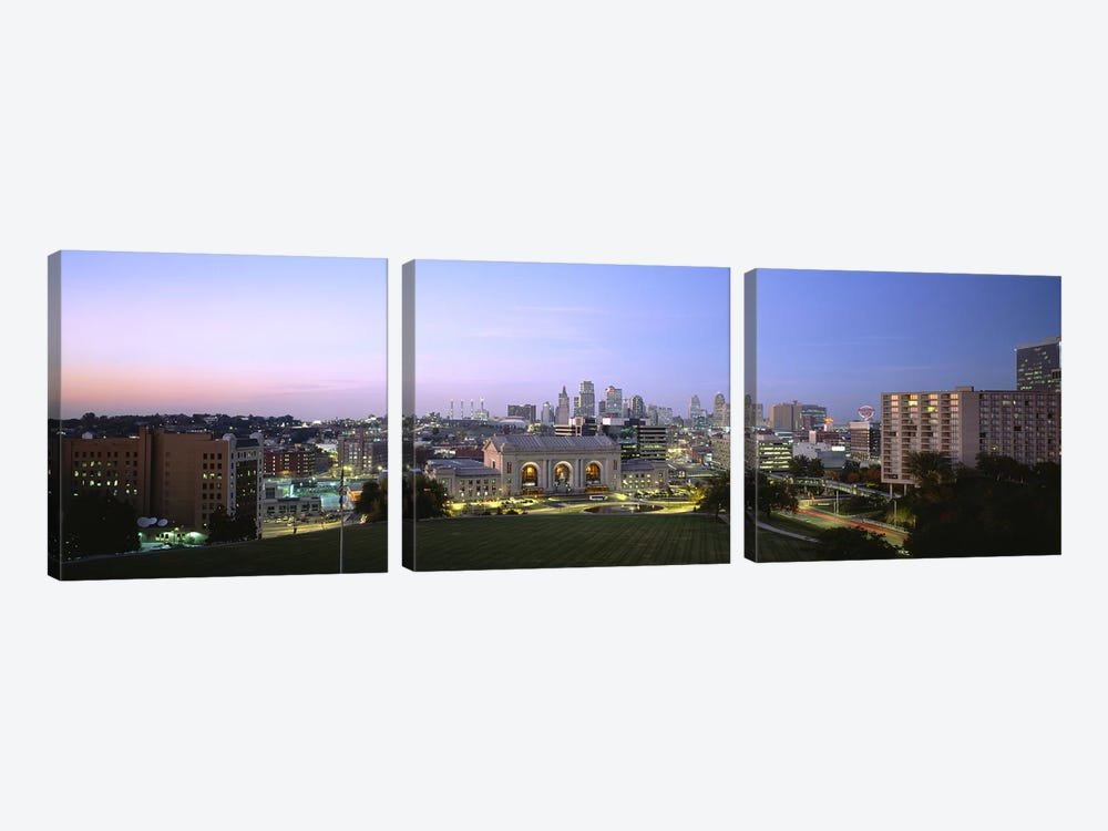 High Angle View of A City Lit Up At DuskKansas City, Missouri, USA by Panoramic Images 3-piece Canvas Art Print