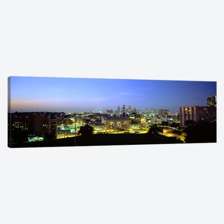 High Angle View of A City Lit Up At DuskKansas City, Missouri, USA Canvas Print #PIM5082} by Panoramic Images Canvas Wall Art
