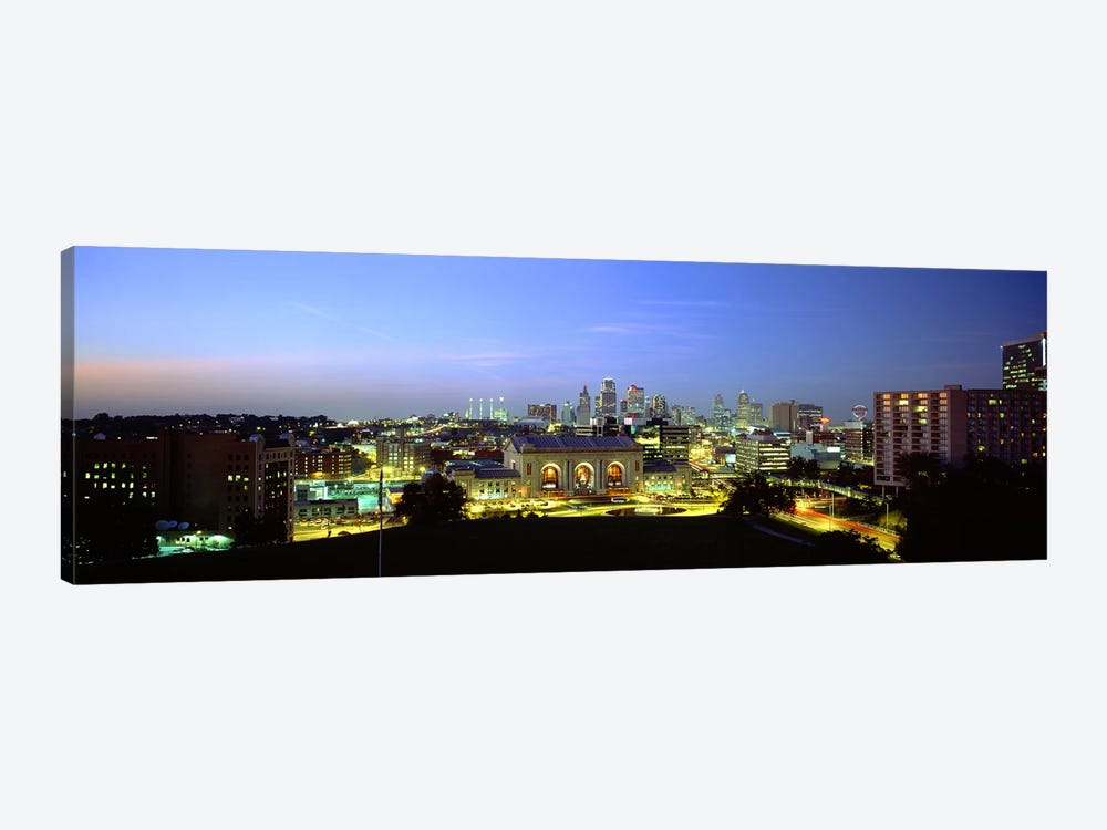 High Angle View of A City Lit Up At DuskKansas City, Missouri, USA 1-piece Canvas Wall Art