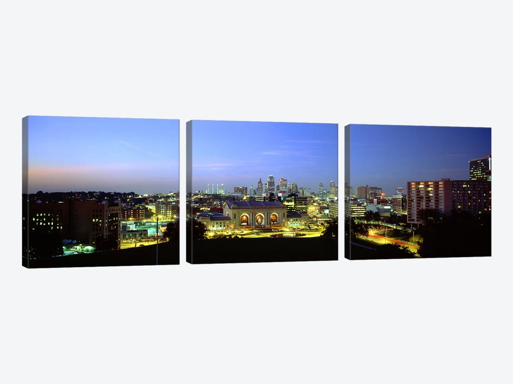 High Angle View of A City Lit Up At DuskKansas City, Missouri, USA by Panoramic Images 3-piece Canvas Wall Art