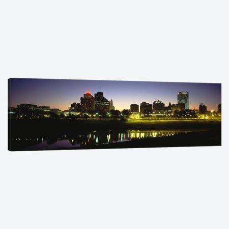 Buildings At The waterfront, Lit Up At DawnMemphis, Tennessee, USA Canvas Print #PIM5085} by Panoramic Images Canvas Art Print